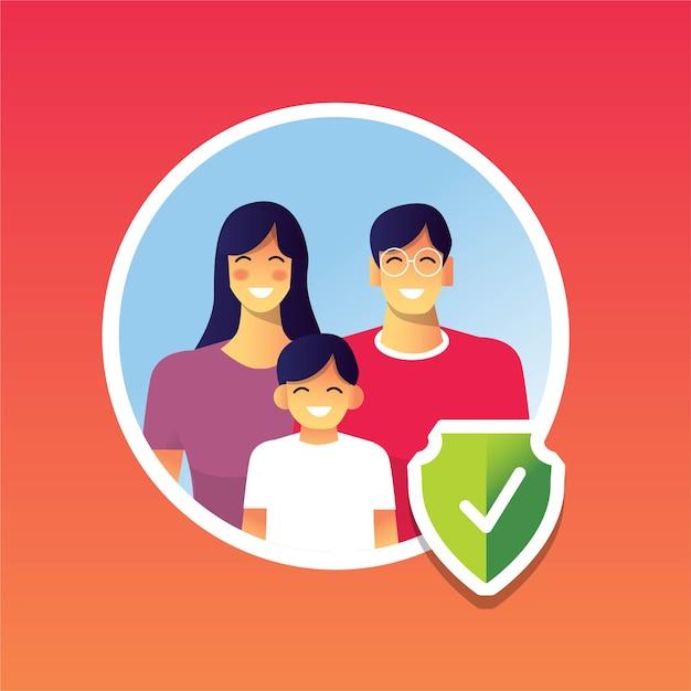 Glückliche familie gesund vor pandemie geschützt Premium Vektoren
