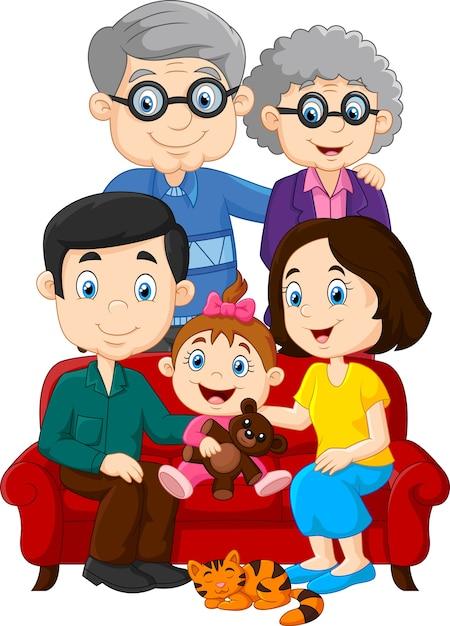Glückliche familie getrennt auf weißem hintergrund Premium Vektoren