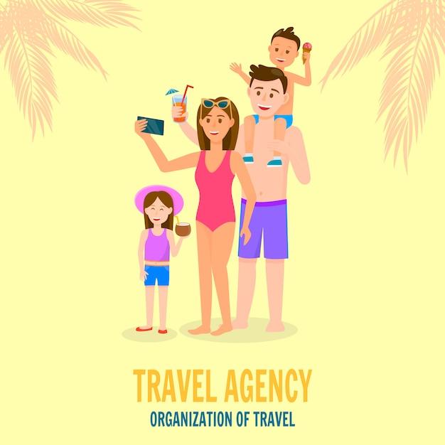 Glückliche familie in den sommerferien Premium Vektoren