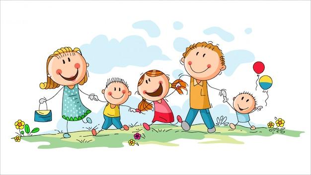 Glückliche familie mit baumkindern, die spaß haben, im freien zu laufen Premium Vektoren