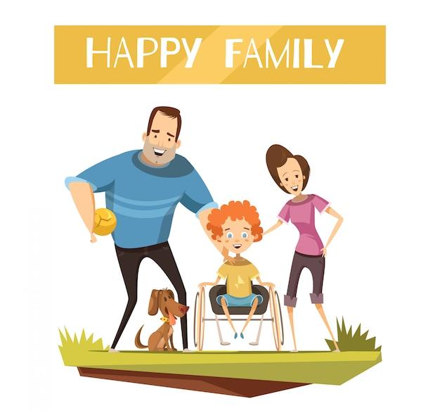 Glückliche familie mit behindertem kind auf rollstuhl und hund während der wegkarikatur Kostenlosen Vektoren