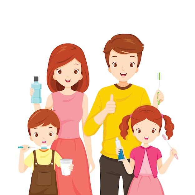 Glückliche familie mit zahnreinigungszubehör Premium Vektoren