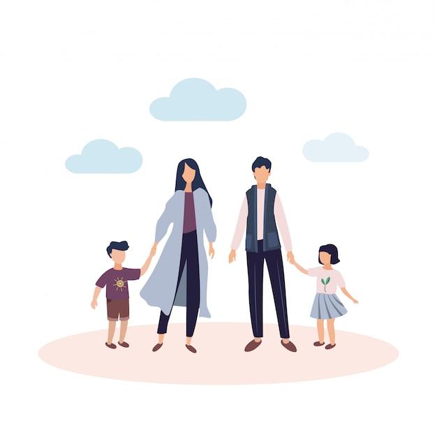 Glückliche familie . mo r und vater mit tochter und sohn. eltern mit kindern unter dem klaren himmel mit wolken. illustration in einem flachen stil Premium Vektoren