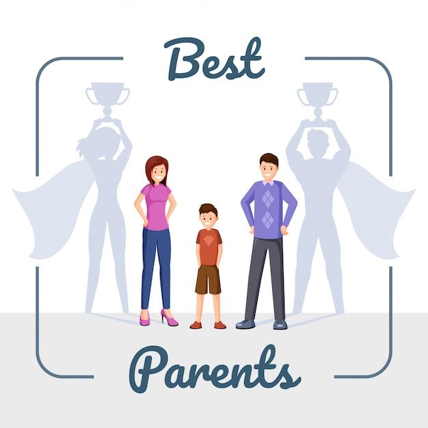 Glückliche familie, mutter und vater mit superheldschatten Premium Vektoren