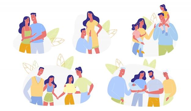 Glückliche familie time line set, liebevolle menschen beziehung Premium Vektoren