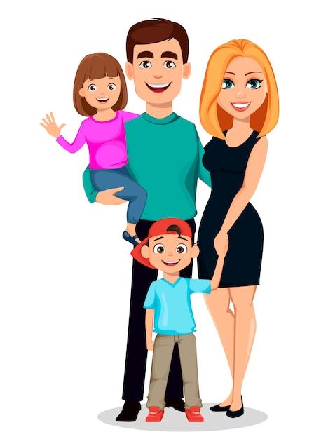 Glückliche familie. vater, mutter, sohn und tochter Premium Vektoren