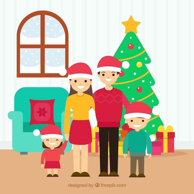 Glückliche familie zuhause Kostenlosen Vektoren