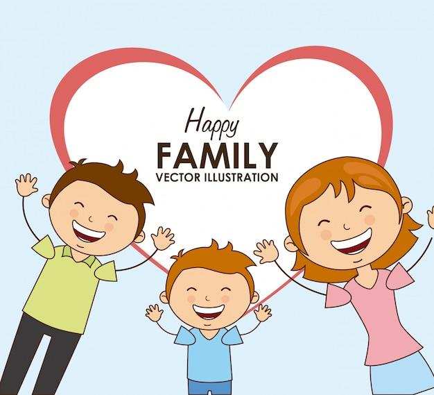 Glückliche familie Premium Vektoren