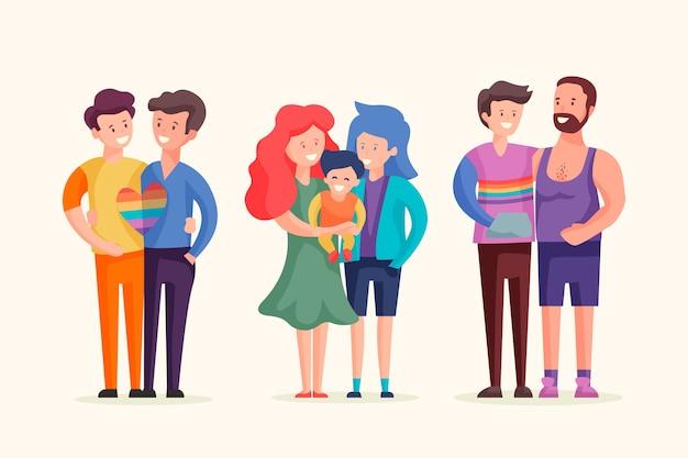 Glückliche familien, die stolz tag feiern Kostenlosen Vektoren