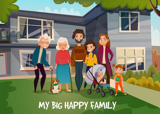 Glückliche familien-illustration Kostenlosen Vektoren