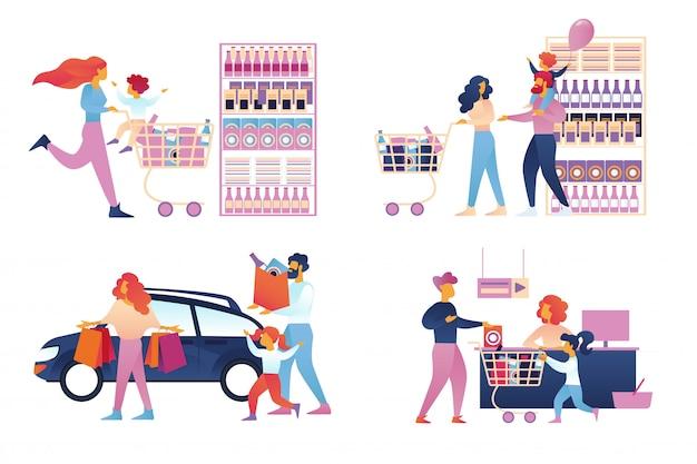 Glückliche familieneinkaufssatz getrennt. supermarkt Premium Vektoren