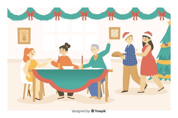Glückliche familienkarikatur, die für weihnachtsabendessen sich erfasst Kostenlosen Vektoren