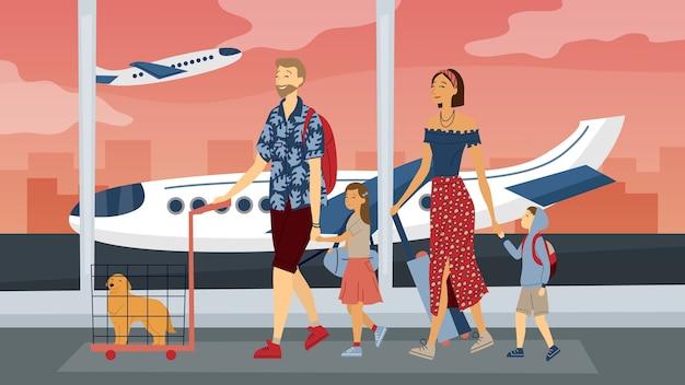 Glückliche familienreise zusammen. eltern mit kindern am flughafen bereit für den urlaub. flacher stil. vektorillustration. Premium Vektoren