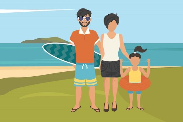 Glückliche familiensommerferien Premium Vektoren