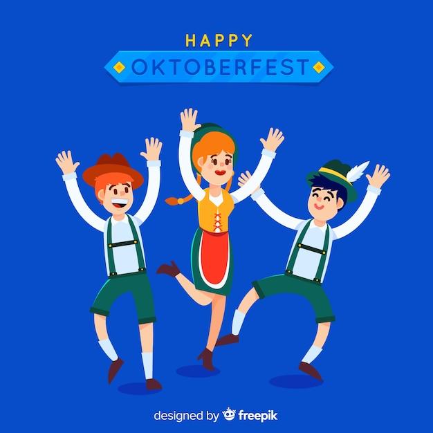 Glückliche flache charaktere, die oktoberfest feiern Kostenlosen Vektoren