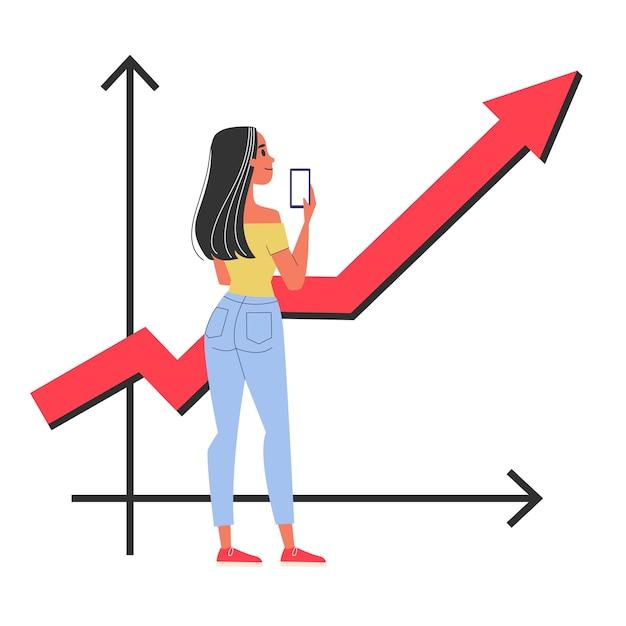 Glückliche frau, die an der grafik steht, die oben zeigt. idee des geschäftswachstums und der finanzanalyse. illustration Premium Vektoren