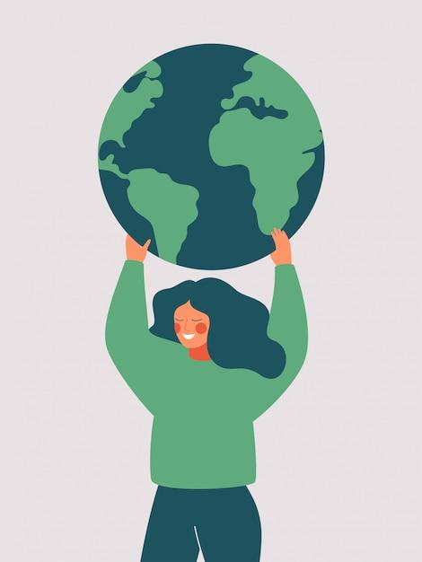 Glückliche frau hält den grünen planeten erde. vektorillustration des tages der erde und des einsparungsplaneten Premium Vektoren