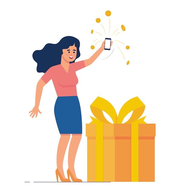 Glückliche frau sammeln punkt und belohnung vom e-commerce Premium Vektoren