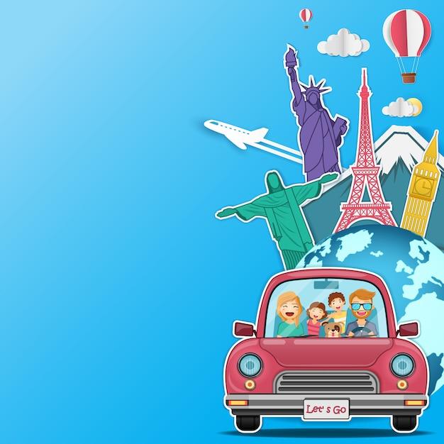 Glückliche frau und mann reisende Premium Vektoren