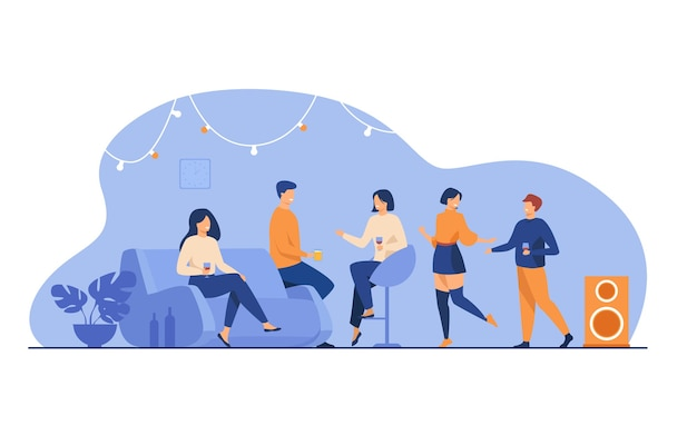 Glückliche freunde zu hause feiern lokalisierte flache vektorillustration. karikaturgruppe von studenten, die zusammen in der wohnung tanzen, sprechen und spaß haben. Kostenlosen Vektoren