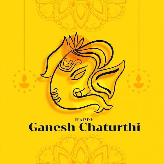Glückliche ganesh chaturthi festivalkarte in der gelben farbe Kostenlosen Vektoren