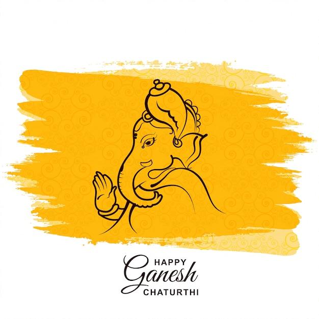 Glückliche ganesh chaturthi festivalkarte Kostenlosen Vektoren