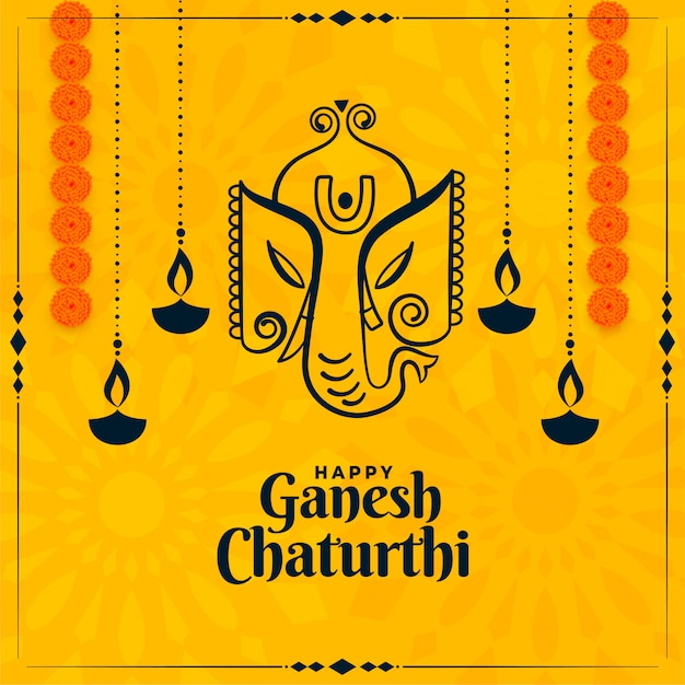 Glückliche ganesh chaturthi indische festival gelbe karte Kostenlosen Vektoren