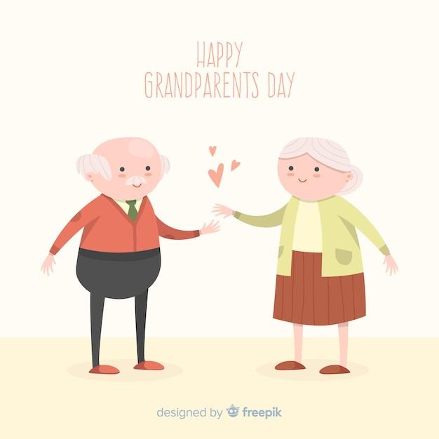 Glückliche gezeichnete art des großeltern-tageshintergrundes in der hand Kostenlosen Vektoren