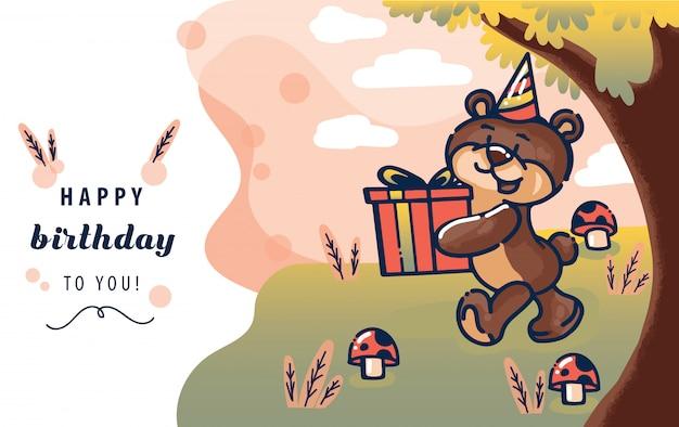 Glückliche glückwunschkarteschablone mit dem braunbären, der ein geschenk oder ein geschenk in der waldszene gibt. vektor-illustration Premium Vektoren