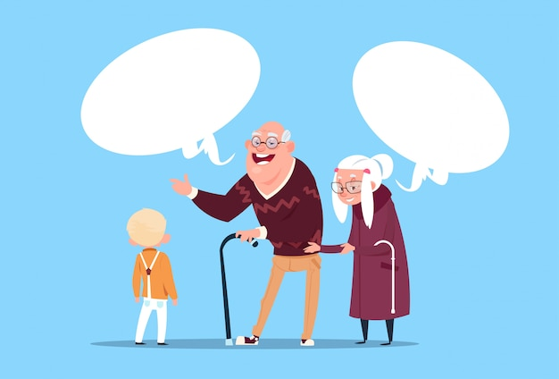 Glückliche großeltern-paare mit dem enkel, der modernen großvater und großmutter und kleinen jungen in verbindung steht Premium Vektoren