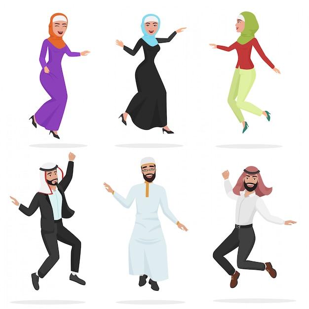 Glückliche gruppe des netten springens der arabischen leute. Premium Vektoren