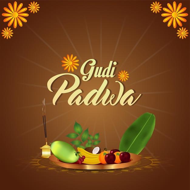 Glückliche gudi padwa feiergrußkarte Premium Vektoren
