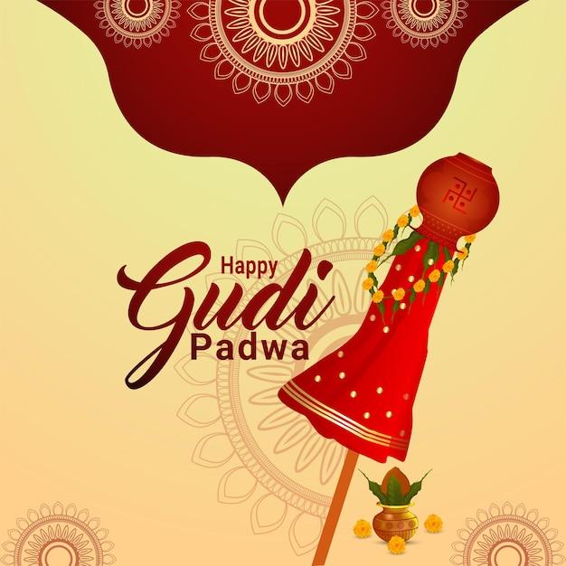 Glückliche gudi padwa feiertagsfestfeier-grußkarte Premium Vektoren