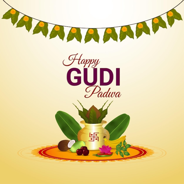 Glückliche gudi padwa, indische hinduistische festfeier Premium Vektoren