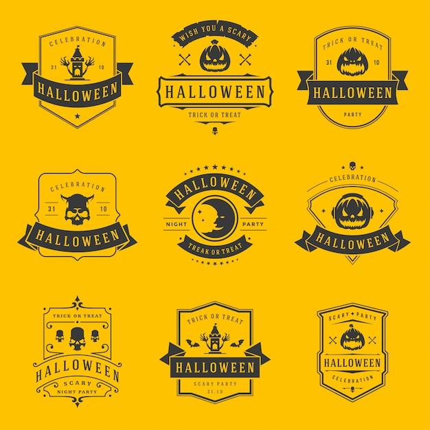 Glückliche halloween-aufkleber und abzeichen entwerfen gesetzte weinlesetypografieschablonen Premium Vektoren