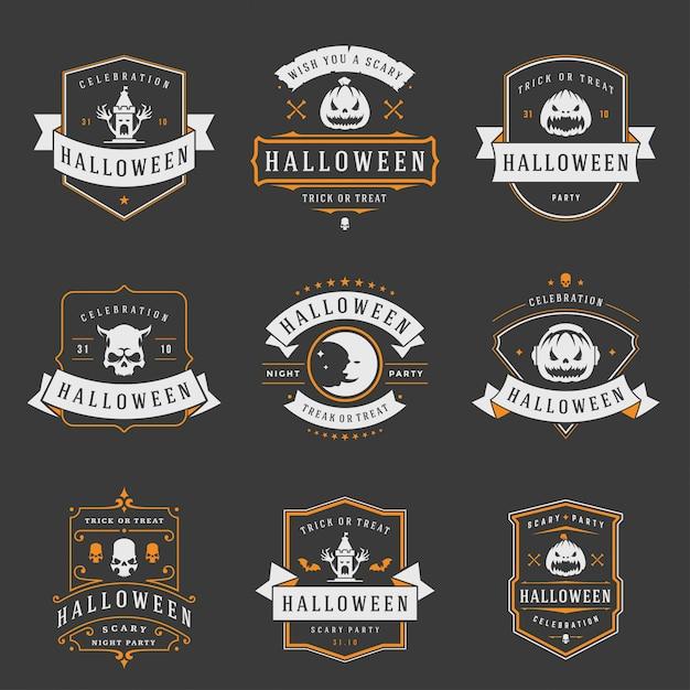 Glückliche halloween-aufkleber und ausweise oder logos entwerfen gesetzte weinlese Premium Vektoren