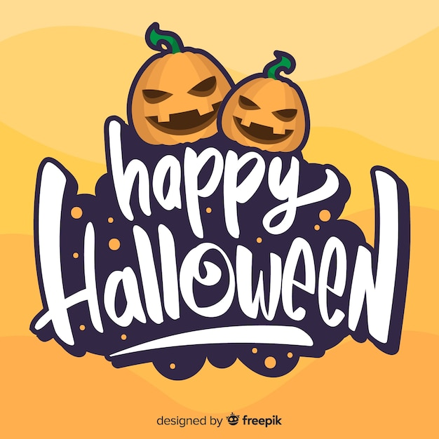 Glückliche halloween-beschriftung mit verärgerten kürbisen Kostenlosen Vektoren