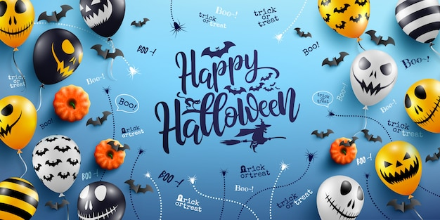 Glückliche halloween-beschriftung und blauer hintergrund mit halloween-geist-ballonen Premium Vektoren