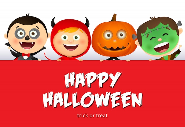 Glückliche halloween-beschriftung und lächelnde kinder in den monsterkostümen Kostenlosen Vektoren