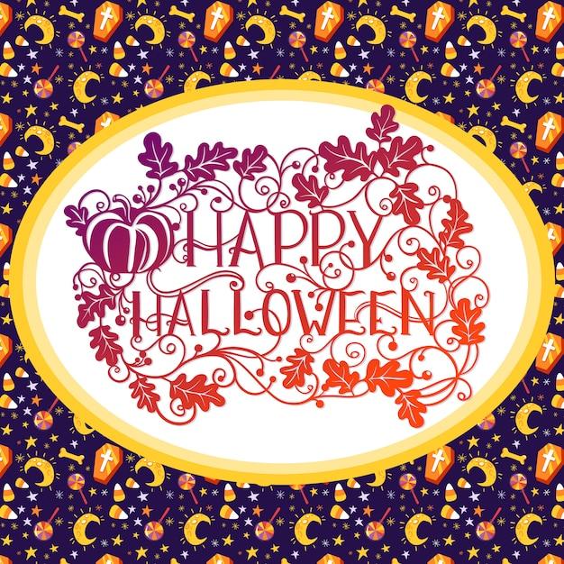 Glückliche halloween-eichenblätter und kürbistypographie Premium Vektoren