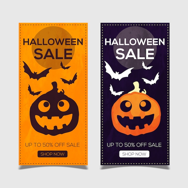 Glückliche halloween-fahne mit kürbisen und schlägern Premium Vektoren