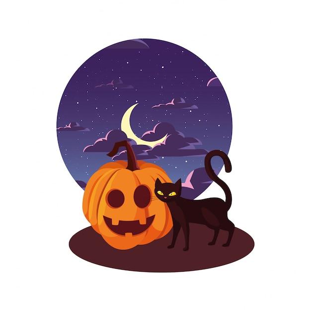 Glückliche halloween-feier der kürbiskatze Premium Vektoren