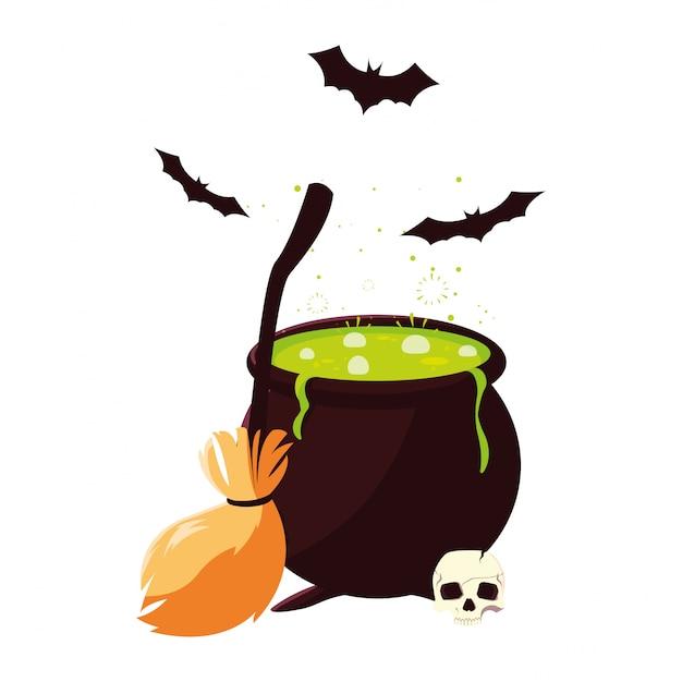 Glückliche halloween-feier des großen besenschädels Premium Vektoren