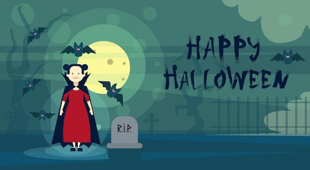 Glückliche halloween-gruß-karte dracula-vampir nachts auf kirchhof-friedhof Premium Vektoren