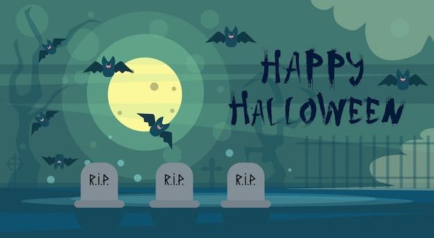 Glückliche halloween-gruß-karten-nacht auf kirchhof-friedhof Premium Vektoren
