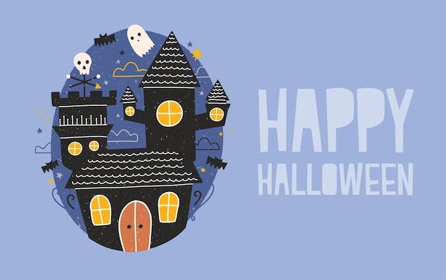 Glückliche halloween-grußkarte mit düsterem spukschloss, lustigen geistern und fledermäusen, die gegen dunklen sternenhimmel fliegen Premium Vektoren