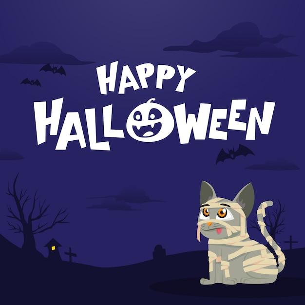 Glückliche halloween-grußkarte mit mamakatze Premium Vektoren