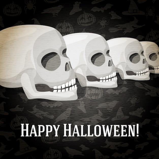 Glückliche halloween-grußkarte mit menschlichen schädeln, die zur perspektive verblassen. auf dem dunklen halloween-hintergrund mit fledermäusen, hexen, hüten, spinnen, kürbissen. Premium Vektoren