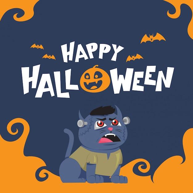 Glückliche halloween-grußkarte mit mit blauer zombiekatze Premium Vektoren
