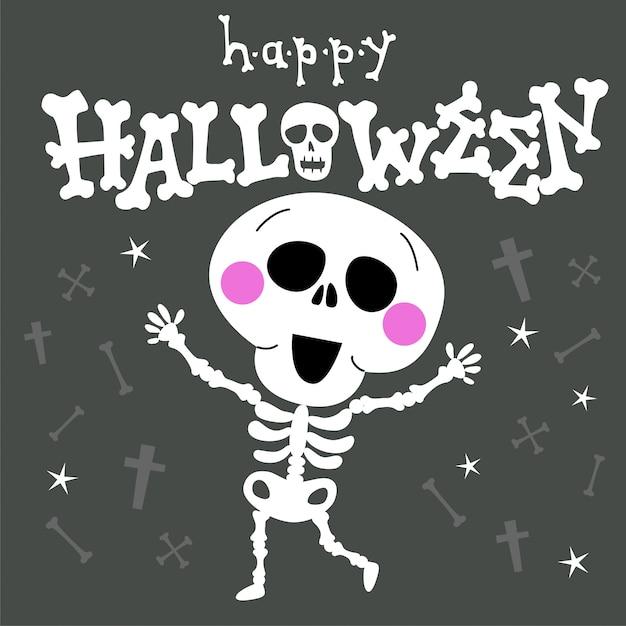 Glückliche halloween-grußkarte mit nettem skeleton charakter Premium Vektoren